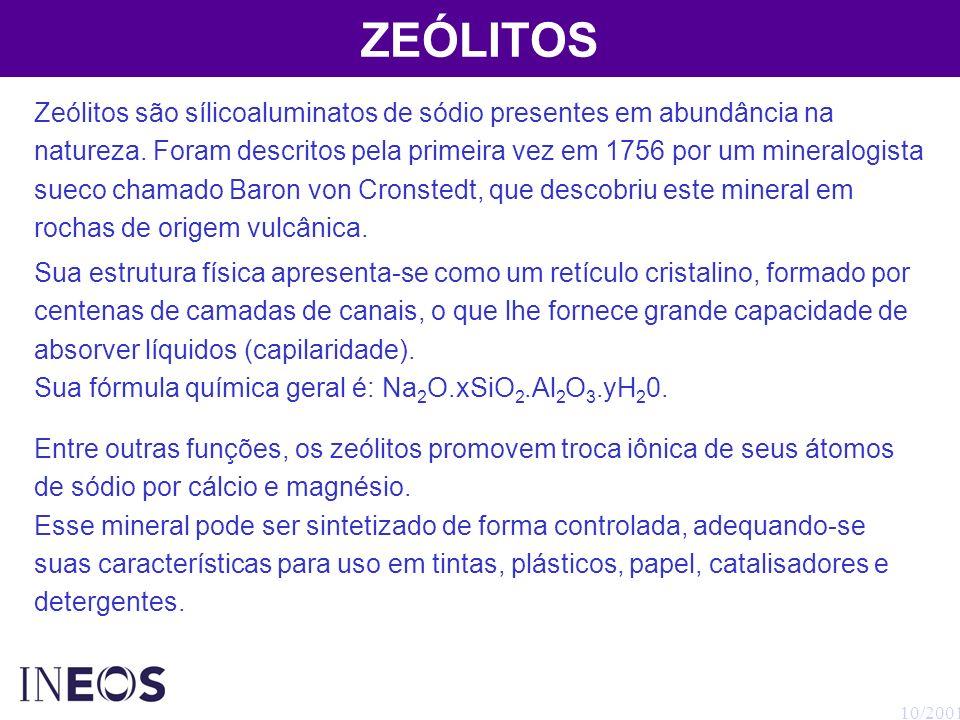 10/2001 ZEÓLITOS Zeólitos são sílicoaluminatos de sódio presentes em abundância na natureza. Foram descritos pela primeira vez em 1756 por um mineralo