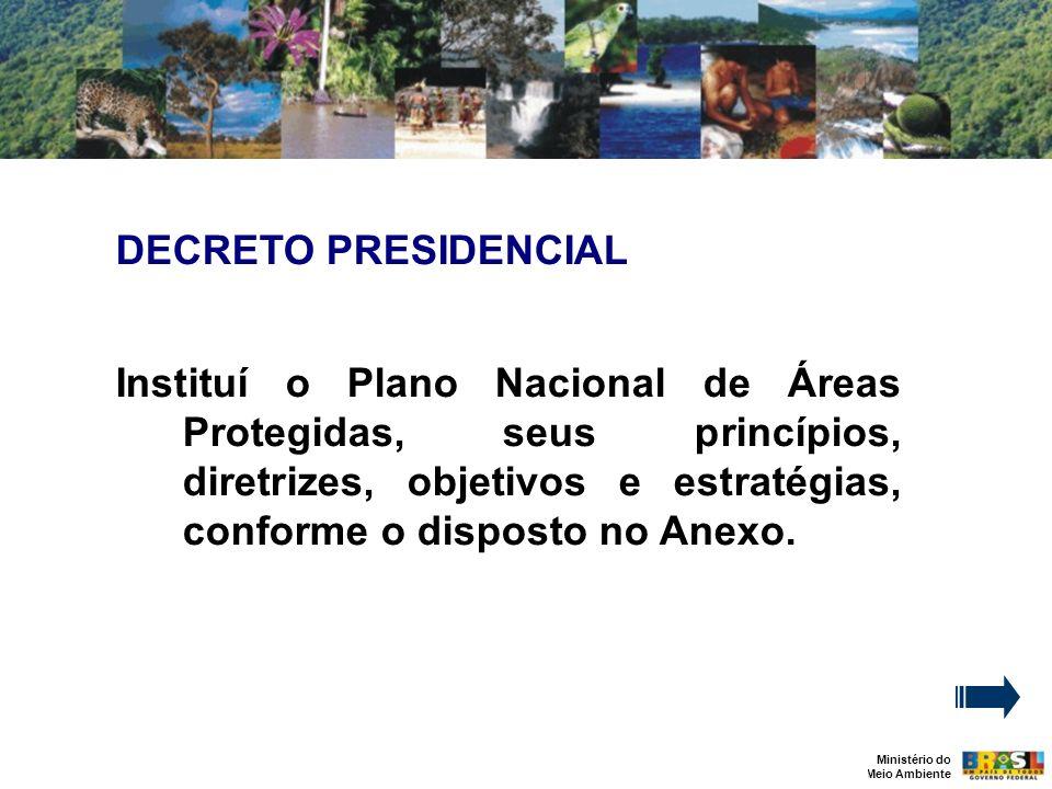 Ministério do Meio Ambiente DECRETO PRESIDENCIAL Instituí o Plano Nacional de Áreas Protegidas, seus princípios, diretrizes, objetivos e estratégias, conforme o disposto no Anexo.