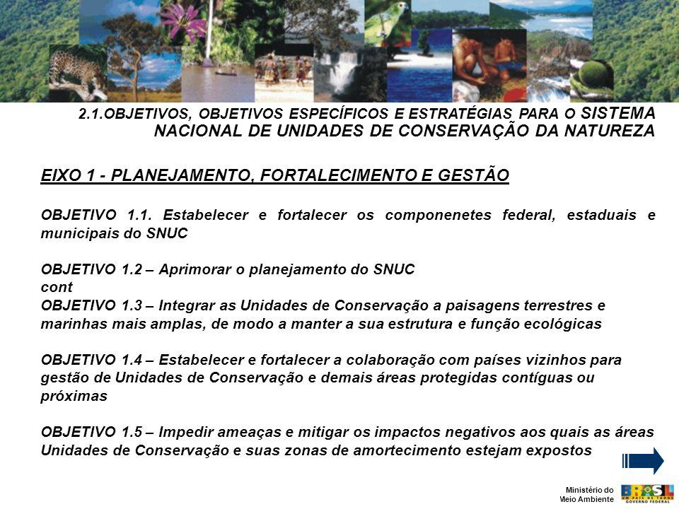Ministério do Meio Ambiente 2.1.OBJETIVOS, OBJETIVOS ESPECÍFICOS E ESTRATÉGIAS PARA O SISTEMA NACIONAL DE UNIDADES DE CONSERVAÇÃO DA NATUREZA EIXO 1 - PLANEJAMENTO, FORTALECIMENTO E GESTÃO OBJETIVO 1.1.