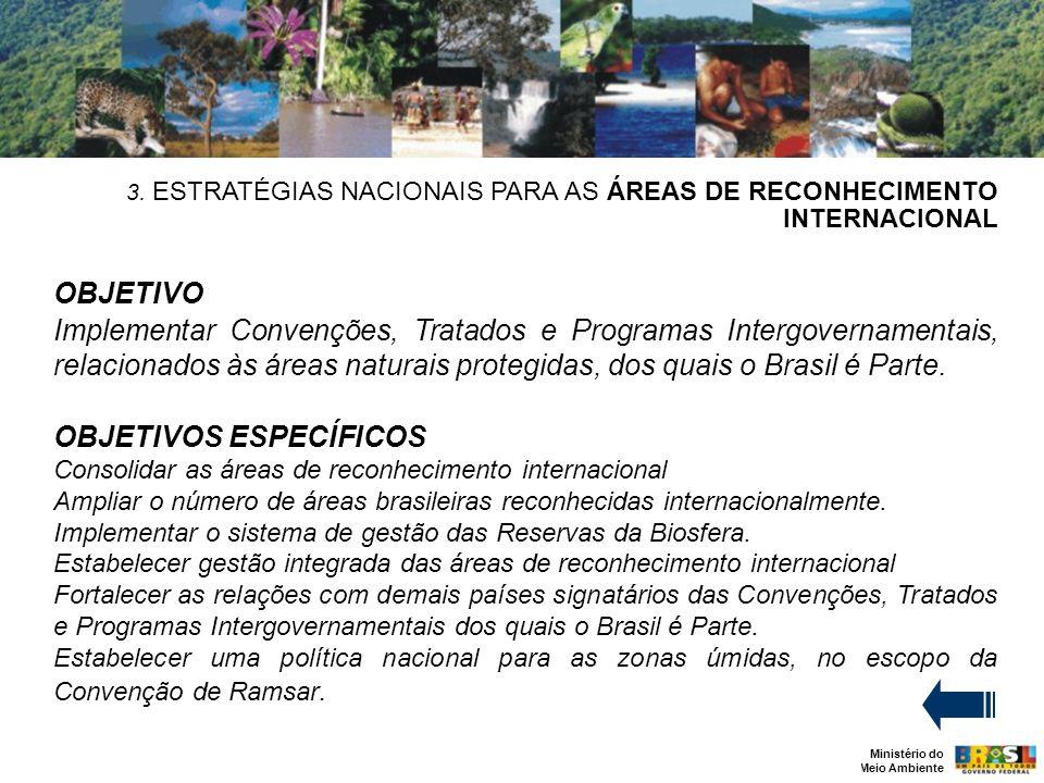 Ministério do Meio Ambiente 3. ESTRATÉGIAS NACIONAIS PARA AS ÁREAS DE RECONHECIMENTO INTERNACIONAL OBJETIVO Implementar Convenções, Tratados e Program