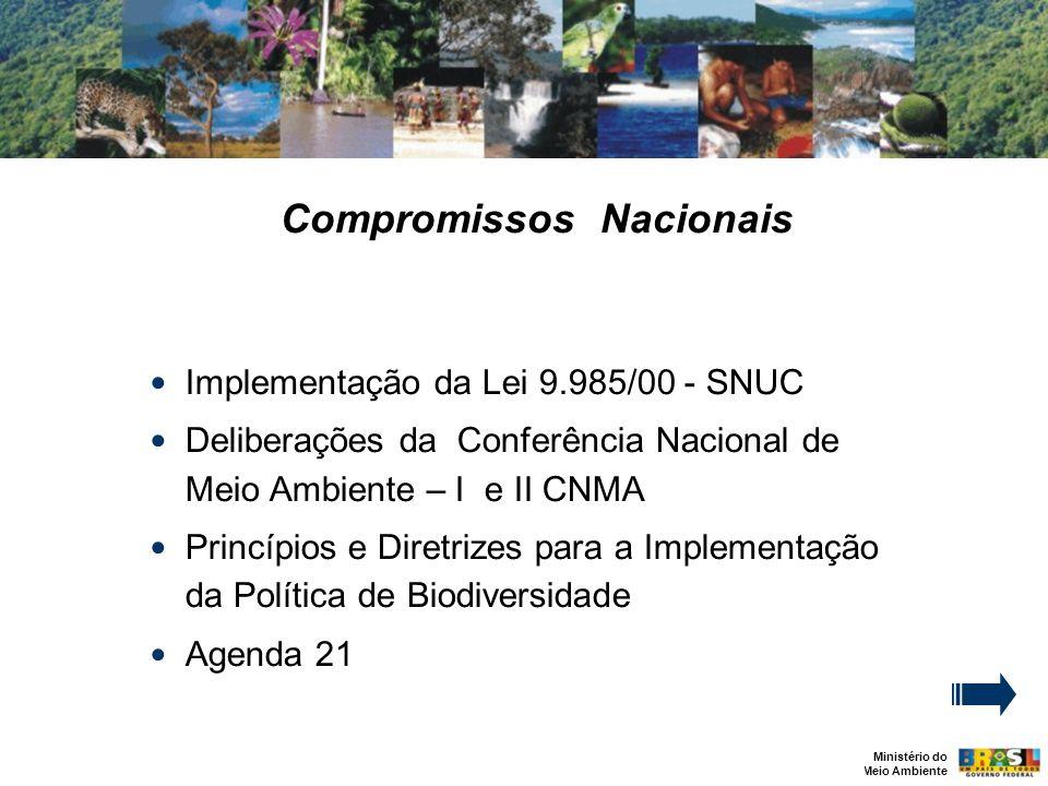 Ministério do Meio Ambiente Compromissos Nacionais Implementação da Lei 9.985/00 - SNUC Deliberações da Conferência Nacional de Meio Ambiente – I e II CNMA Princípios e Diretrizes para a Implementação da Política de Biodiversidade Agenda 21