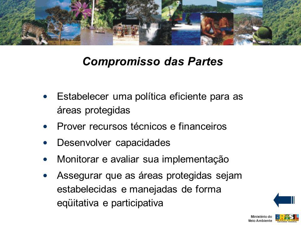 Ministério do Meio Ambiente Compromisso das Partes Estabelecer uma política eficiente para as áreas protegidas Prover recursos técnicos e financeiros Desenvolver capacidades Monitorar e avaliar sua implementação Assegurar que as áreas protegidas sejam estabelecidas e manejadas de forma eqüitativa e participativa