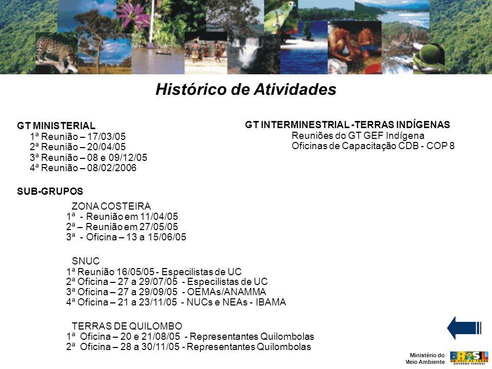 Ministério do Meio Ambiente Histórico de Atividades GT INTERMINESTRIAL -TERRAS INDÍGENAS Reuniões do GT GEF Indígena Oficinas de Capacitação CDB - COP 8 GT MINISTERIAL 1ª Reunião – 17/03/05 2ª Reunião – 20/04/05 3ª Reunião – 08 e 09/12/05 4ª Reunião – 08/02/2006 SUB-GRUPOS ZONA COSTEIRA 1ª - Reunião em 11/04/05 2ª – Reunião em 27/05/05 3ª - Oficina – 13 a 15/06/05 SNUC 1ª Reunião 16/05/05 - Especilistas de UC 2ª Oficina – 27 a 29/07/05 - Especilistas de UC 3ª Oficina – 27 a 29/09/05 - OEMAs/ANAMMA 4ª Oficina – 21 a 23/11/05 - NUCs e NEAs - IBAMA TERRAS DE QUILOMBO 1ª Oficina – 20 e 21/08/05 - Representantes Quilombolas 2ª Oficina – 28 a 30/11/05 - Representantes Quilombolas