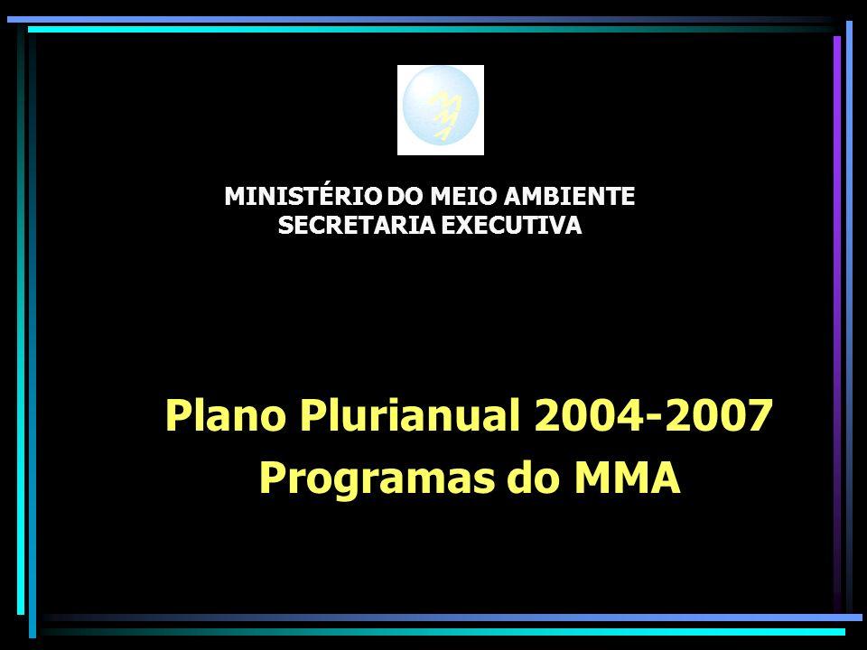 MINISTÉRIO DO MEIO AMBIENTE SECRETARIA EXECUTIVA Plano Plurianual 2004-2007 Programas do MMA