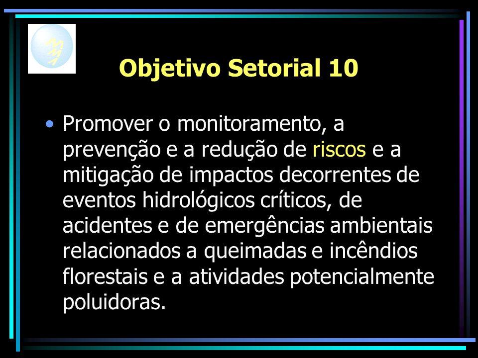 Objetivo Setorial 10 Promover o monitoramento, a prevenção e a redução de riscos e a mitigação de impactos decorrentes de eventos hidrológicos críticos, de acidentes e de emergências ambientais relacionados a queimadas e incêndios florestais e a atividades potencialmente poluidoras.