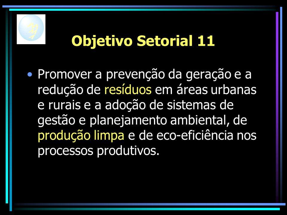 Objetivo Setorial 11 Promover a prevenção da geração e a redução de resíduos em áreas urbanas e rurais e a adoção de sistemas de gestão e planejamento ambiental, de produção limpa e de eco-eficiência nos processos produtivos.