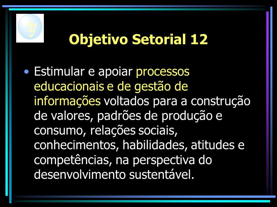 Objetivo Setorial 12 Estimular e apoiar processos educacionais e de gestão de informações voltados para a construção de valores, padrões de produção e consumo, relações sociais, conhecimentos, habilidades, atitudes e competências, na perspectiva do desenvolvimento sustentável.
