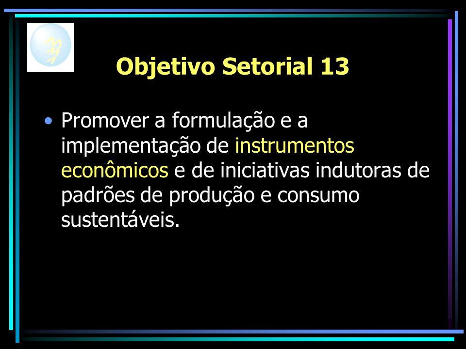 Objetivo Setorial 13 Promover a formulação e a implementação de instrumentos econômicos e de iniciativas indutoras de padrões de produção e consumo sustentáveis.