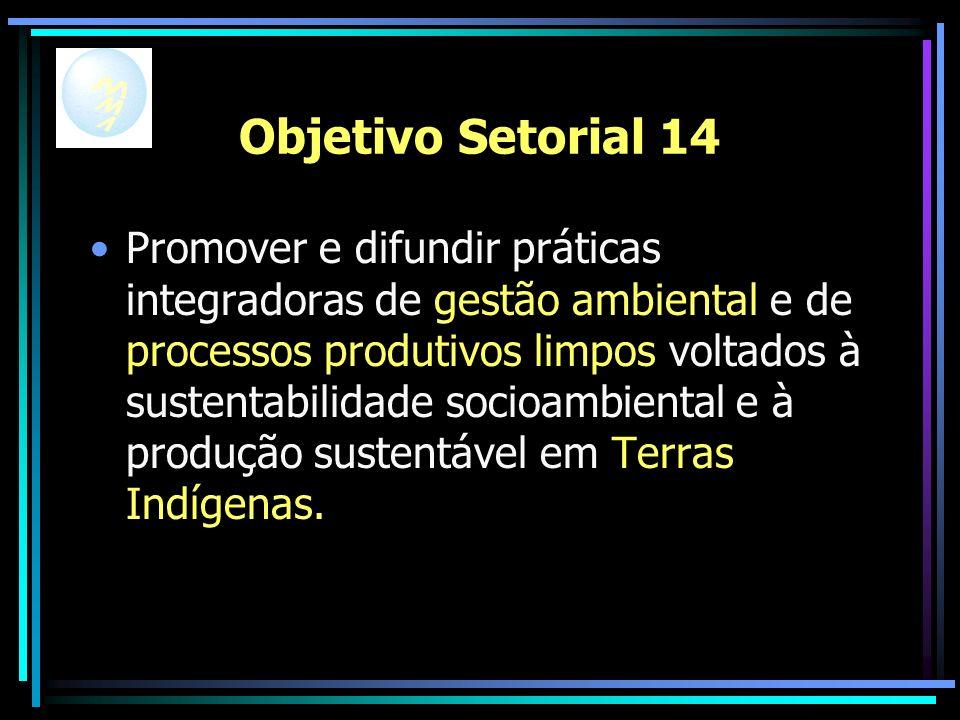Objetivo Setorial 14 Promover e difundir práticas integradoras de gestão ambiental e de processos produtivos limpos voltados à sustentabilidade socioambiental e à produção sustentável em Terras Indígenas.