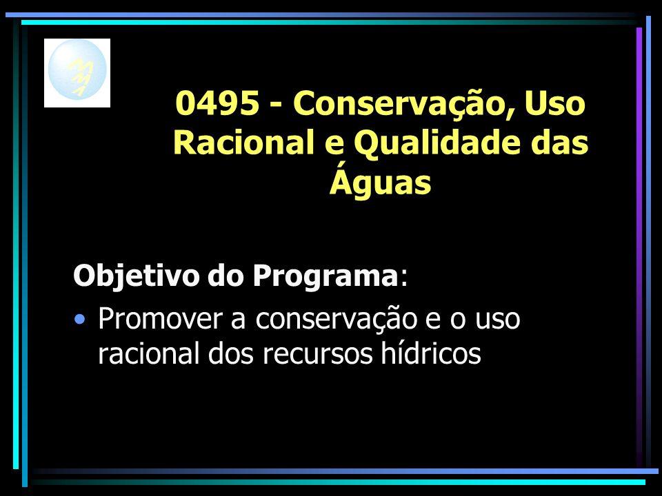 0495 - Conservação, Uso Racional e Qualidade das Águas Objetivo do Programa: Promover a conservação e o uso racional dos recursos hídricos