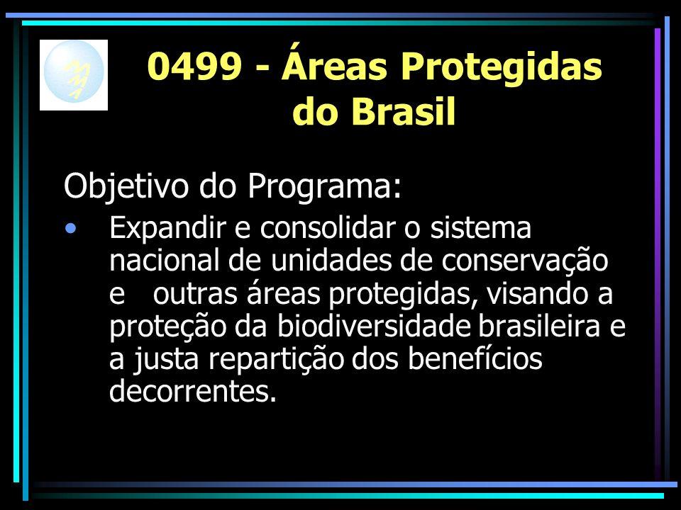 0499 - Áreas Protegidas do Brasil Objetivo do Programa: Expandir e consolidar o sistema nacional de unidades de conservação e outras áreas protegidas, visando a proteção da biodiversidade brasileira e a justa repartição dos benefícios decorrentes.