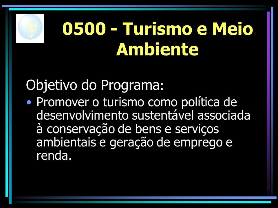 0500 - Turismo e Meio Ambiente Objetivo do Programa : Promover o turismo como política de desenvolvimento sustentável associada à conservação de bens e serviços ambientais e geração de emprego e renda.