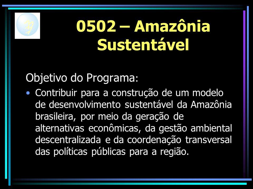 0502 – Amazônia Sustentável Objetivo do Programa : Contribuir para a construção de um modelo de desenvolvimento sustentável da Amazônia brasileira, por meio da geração de alternativas econômicas, da gestão ambiental descentralizada e da coordenação transversal das políticas públicas para a região.