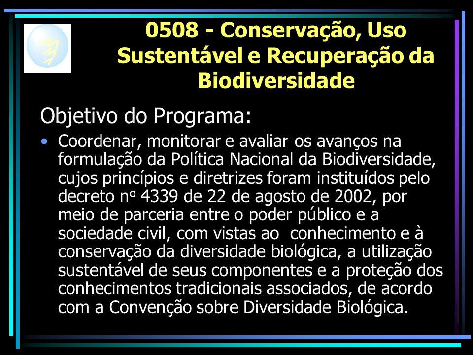 0508 - Conservação, Uso Sustentável e Recuperação da Biodiversidade Objetivo do Programa: Coordenar, monitorar e avaliar os avanços na formulação da Política Nacional da Biodiversidade, cujos princípios e diretrizes foram instituídos pelo decreto n o 4339 de 22 de agosto de 2002, por meio de parceria entre o poder público e a sociedade civil, com vistas ao conhecimento e à conservação da diversidade biológica, a utilização sustentável de seus componentes e a proteção dos conhecimentos tradicionais associados, de acordo com a Convenção sobre Diversidade Biológica.