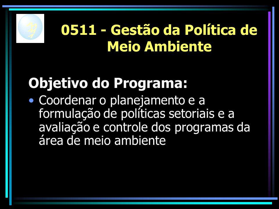 0511 - Gestão da Política de Meio Ambiente Objetivo do Programa: Coordenar o planejamento e a formulação de políticas setoriais e a avaliação e controle dos programas da área de meio ambiente