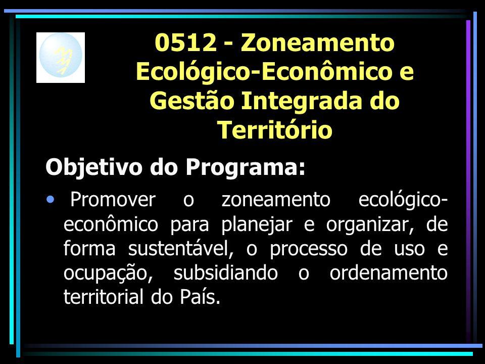 0512 - Zoneamento Ecológico-Econômico e Gestão Integrada do Território Objetivo do Programa: Promover o zoneamento ecológico- econômico para planejar e organizar, de forma sustentável, o processo de uso e ocupação, subsidiando o ordenamento territorial do País.