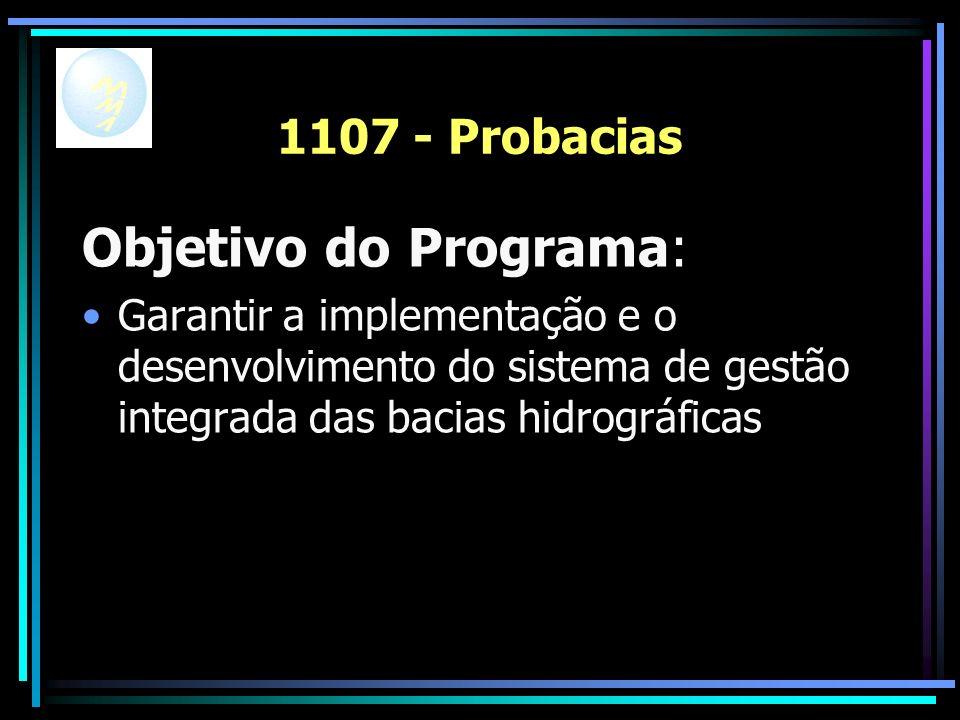 1107 - Probacias Objetivo do Programa: Garantir a implementação e o desenvolvimento do sistema de gestão integrada das bacias hidrográficas