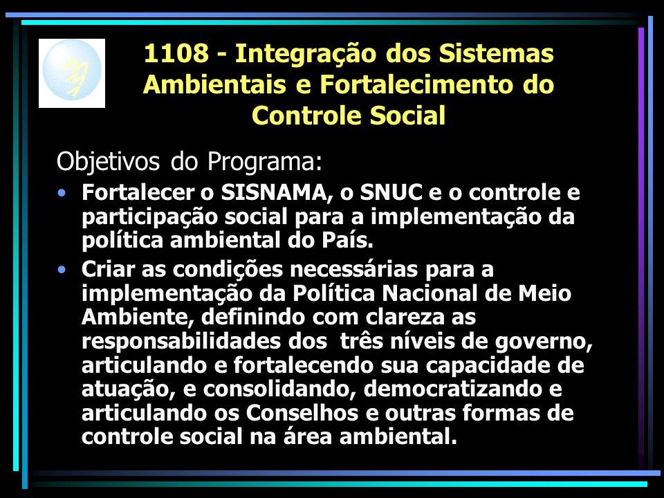 1108 - Integração dos Sistemas Ambientais e Fortalecimento do Controle Social Objetivos do Programa: Fortalecer o SISNAMA, o SNUC e o controle e participação social para a implementação da política ambiental do País.