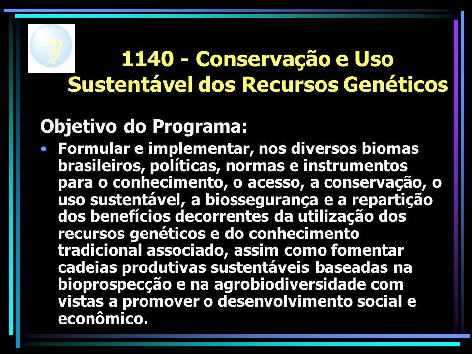 1140 - Conservação e Uso Sustentável dos Recursos Genéticos Objetivo do Programa: Formular e implementar, nos diversos biomas brasileiros, políticas, normas e instrumentos para o conhecimento, o acesso, a conservação, o uso sustentável, a biossegurança e a repartição dos benefícios decorrentes da utilização dos recursos genéticos e do conhecimento tradicional associado, assim como fomentar cadeias produtivas sustentáveis baseadas na bioprospecção e na agrobiodiversidade com vistas a promover o desenvolvimento social e econômico.