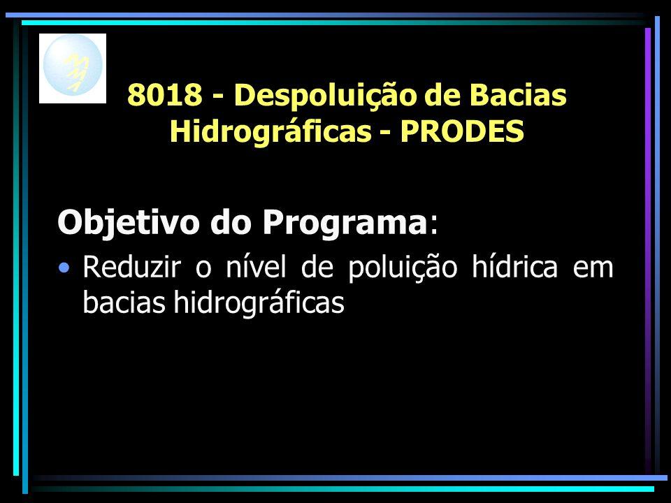 8018 - Despoluição de Bacias Hidrográficas - PRODES Objetivo do Programa: Reduzir o nível de poluição hídrica em bacias hidrográficas