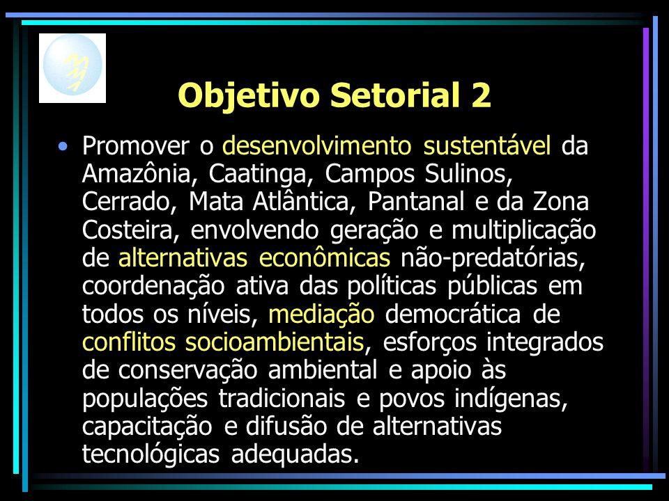 Objetivo Setorial 2 Promover o desenvolvimento sustentável da Amazônia, Caatinga, Campos Sulinos, Cerrado, Mata Atlântica, Pantanal e da Zona Costeira, envolvendo geração e multiplicação de alternativas econômicas não-predatórias, coordenação ativa das políticas públicas em todos os níveis, mediação democrática de conflitos socioambientais, esforços integrados de conservação ambiental e apoio às populações tradicionais e povos indígenas, capacitação e difusão de alternativas tecnológicas adequadas.