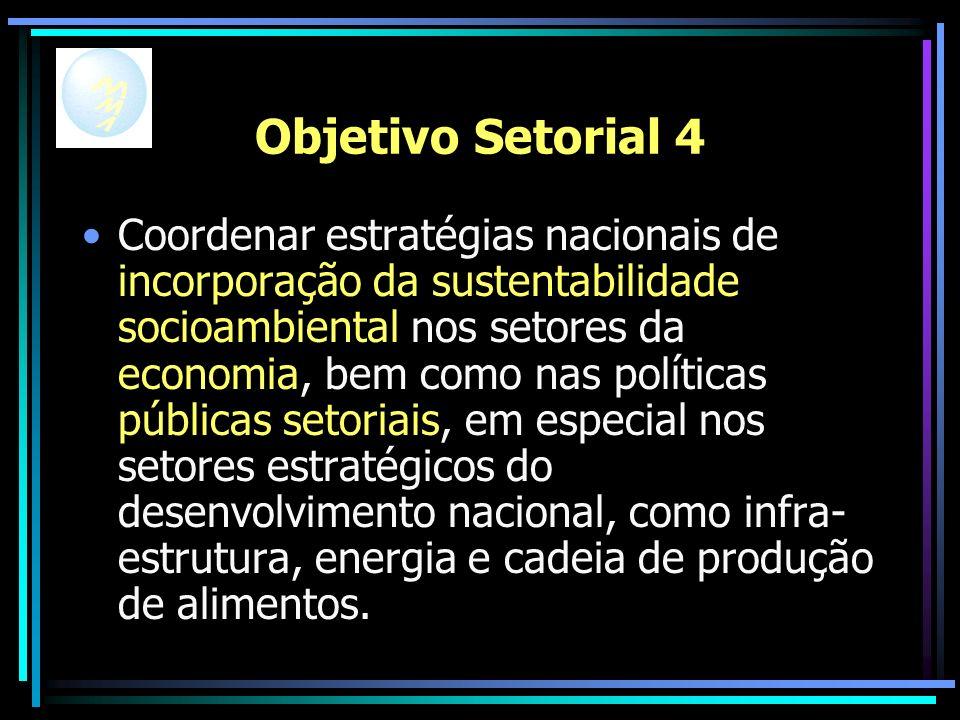 Objetivo Setorial 4 Coordenar estratégias nacionais de incorporação da sustentabilidade socioambiental nos setores da economia, bem como nas políticas públicas setoriais, em especial nos setores estratégicos do desenvolvimento nacional, como infra- estrutura, energia e cadeia de produção de alimentos.
