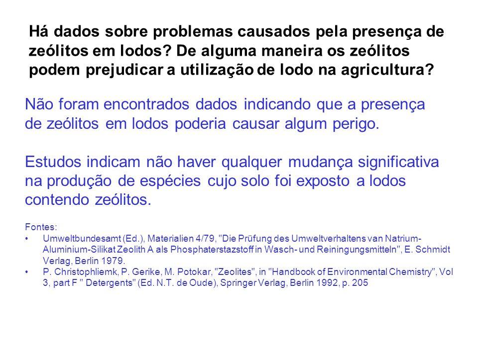 Há dados sobre problemas causados pela presença de zeólitos em lodos? De alguma maneira os zeólitos podem prejudicar a utilização de lodo na agricultu