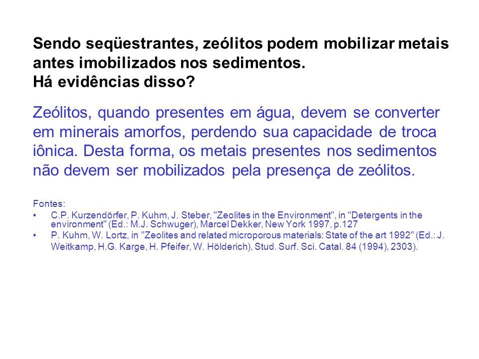 Há dados sobre problemas causados pela presença de zeólitos em lodos.