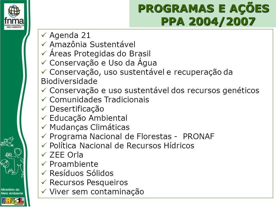 PROGRAMAS E AÇÕES PPA 2004/2007 Agenda 21 Amazônia Sustentável Áreas Protegidas do Brasil Conservação e Uso da Água Conservação, uso sustentável e recuperação da Biodiversidade Conservação e uso sustentável dos recursos genéticos Comunidades Tradicionais Desertificação Educação Ambiental Mudanças Climáticas Programa Nacional de Florestas - PRONAF Política Nacional de Recursos Hídricos ZEE Orla Proambiente Resíduos Sólidos Recursos Pesqueiros Viver sem contaminação