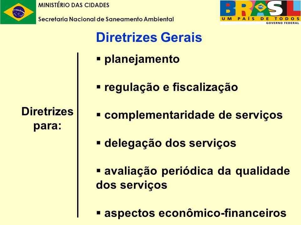 MINISTÉRIO DAS CIDADES Secretaria Nacional de Saneamento Ambiental Diretrizes Gerais planejamento regulação e fiscalização complementaridade de serviços delegação dos serviços avaliação periódica da qualidade dos serviços aspectos econômico-financeiros Diretrizes para: