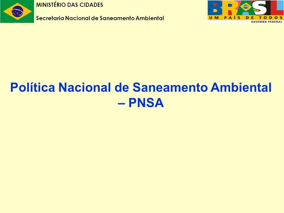 MINISTÉRIO DAS CIDADES Secretaria Nacional de Saneamento Ambiental Política Nacional de Saneamento Ambiental – PNSA