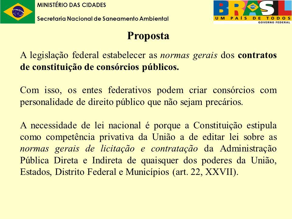 MINISTÉRIO DAS CIDADES Secretaria Nacional de Saneamento Ambiental Proposta A legislação federal estabelecer as normas gerais dos contratos de constituição de consórcios públicos.