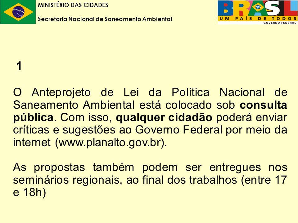 MINISTÉRIO DAS CIDADES Secretaria Nacional de Saneamento Ambiental 1 O Anteprojeto de Lei da Política Nacional de Saneamento Ambiental está colocado sob consulta pública.