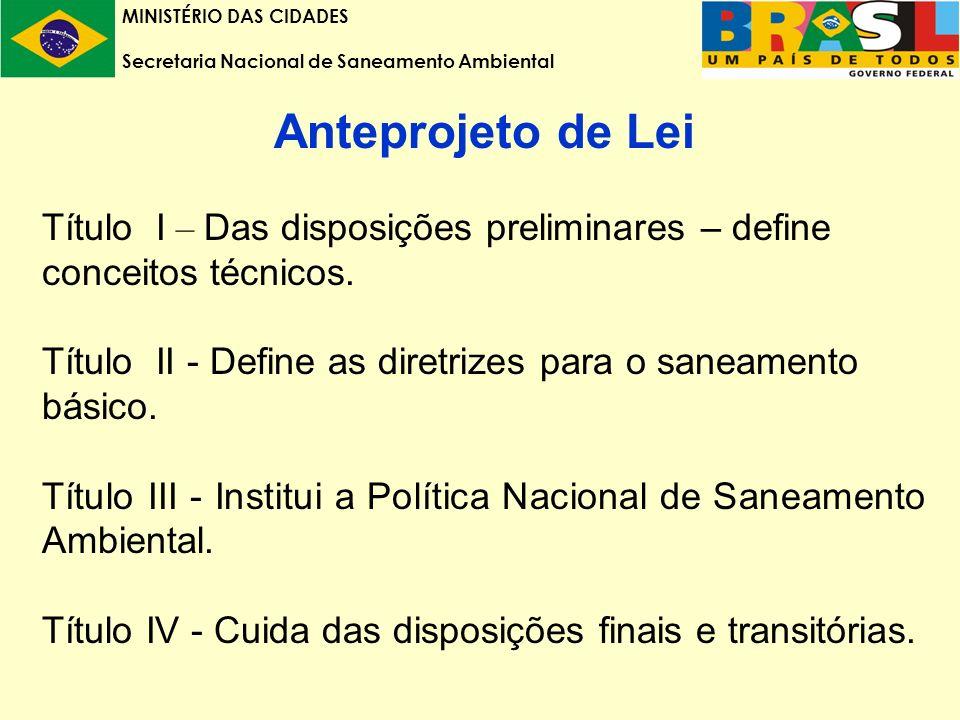 MINISTÉRIO DAS CIDADES Secretaria Nacional de Saneamento Ambiental Anteprojeto de Lei Título I – Das disposições preliminares – define conceitos técnicos.