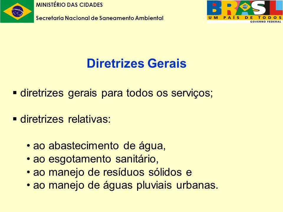 MINISTÉRIO DAS CIDADES Secretaria Nacional de Saneamento Ambiental Diretrizes Gerais diretrizes gerais para todos os serviços; diretrizes relativas: ao abastecimento de água, ao esgotamento sanitário, ao manejo de resíduos sólidos e ao manejo de águas pluviais urbanas.