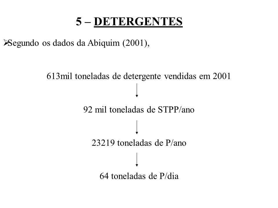 5 – DETERGENTES Segundo os dados da Abiquim (2001), 613mil toneladas de detergente vendidas em 2001 92 mil toneladas de STPP/ano 23219 toneladas de P/