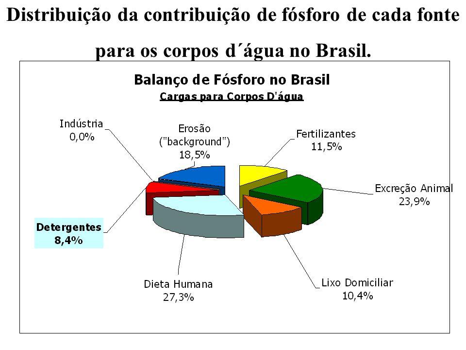 Distribuição da contribuição de fósforo de cada fonte para os corpos d´água no Brasil.