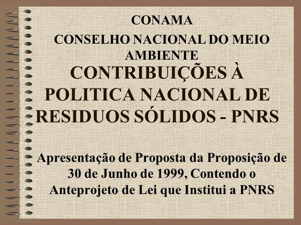 CONTRIBUIÇÕES À POLITICA NACIONAL DE RESIDUOS SÓLIDOS - PNRS Apresentação de Proposta da Proposição de 30 de Junho de 1999, Contendo o Anteprojeto de Lei que Institui a PNRS CONAMA CONSELHO NACIONAL DO MEIO AMBIENTE