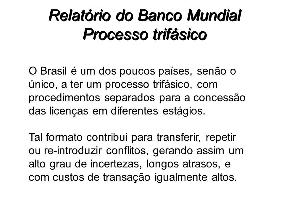 Relatório do Banco Mundial Processo trifásico O Brasil é um dos poucos países, senão o único, a ter um processo trifásico, com procedimentos separados
