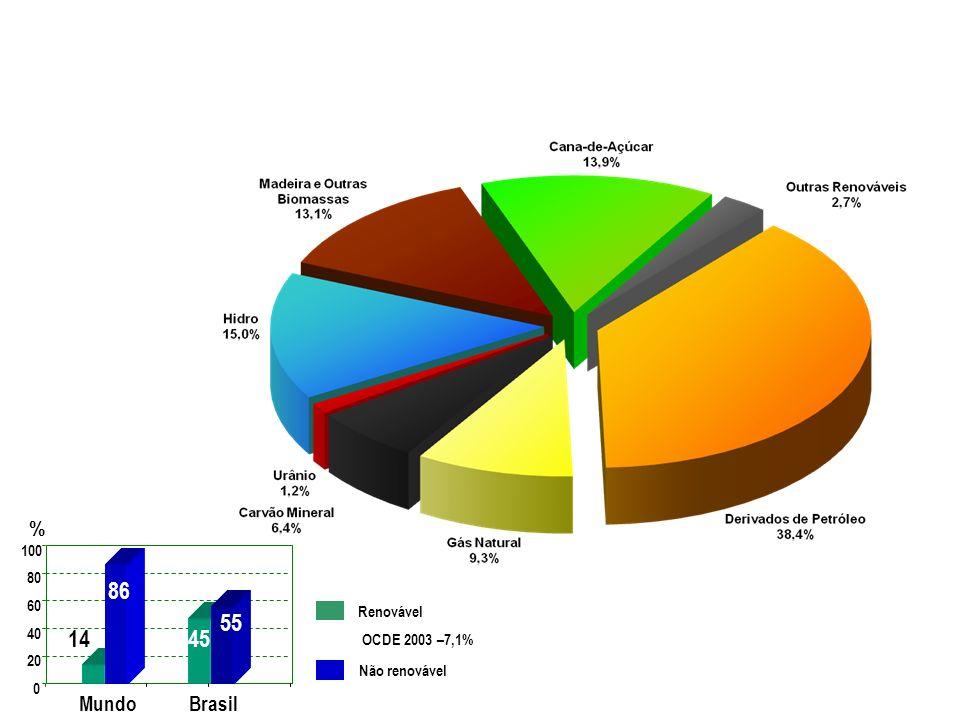 Fonte: MME - 2006 Renovável Não renovável Brasil 0 20 40 60 80 100 Mundo 14 86 45 55 % OCDE 2003 –7,1% MATRIZ ENERGÉTICA BRASILEIRA