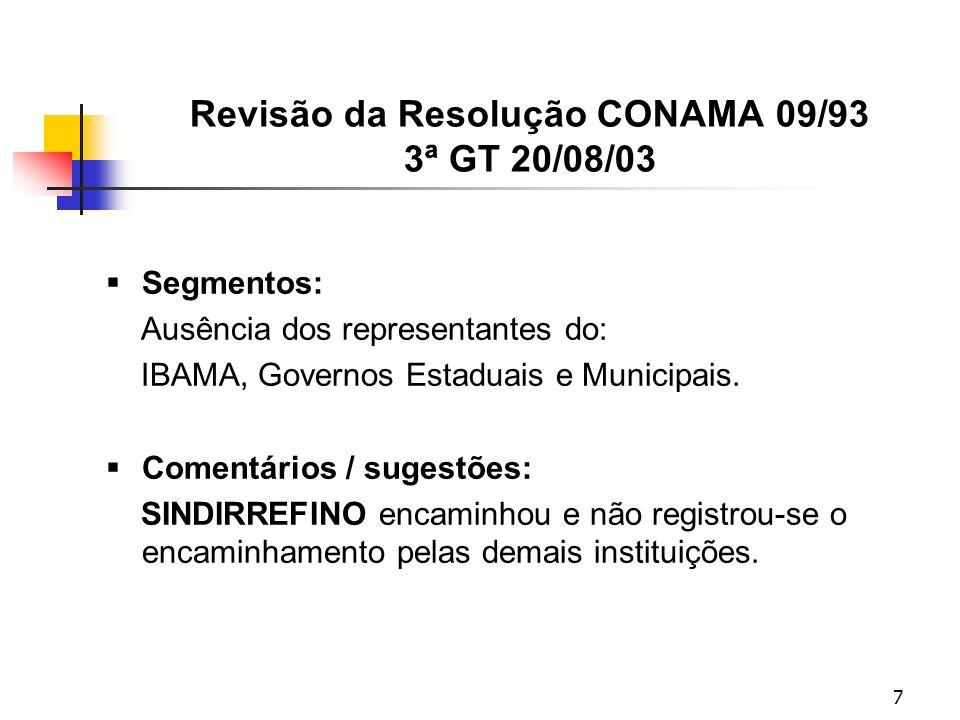 7 Revisão da Resolução CONAMA 09/93 3ª GT 20/08/03 Segmentos: Ausência dos representantes do: IBAMA, Governos Estaduais e Municipais.