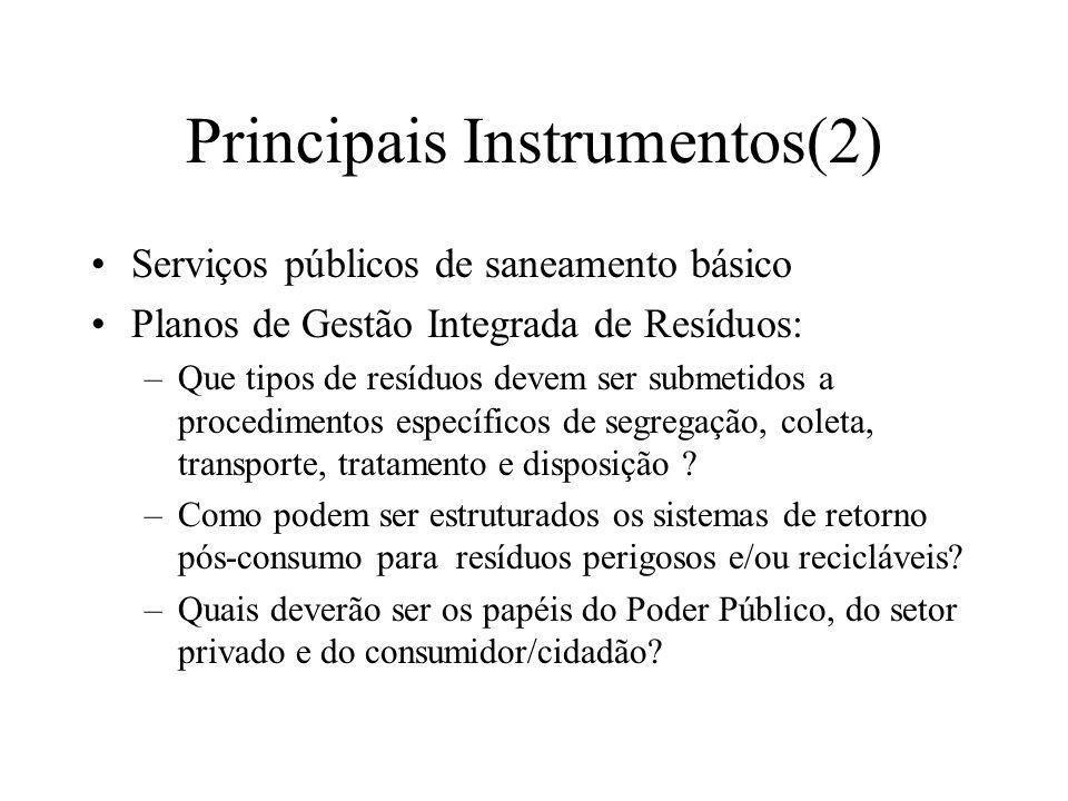 Principais Instrumentos(2) Serviços públicos de saneamento básico Planos de Gestão Integrada de Resíduos: –Que tipos de resíduos devem ser submetidos