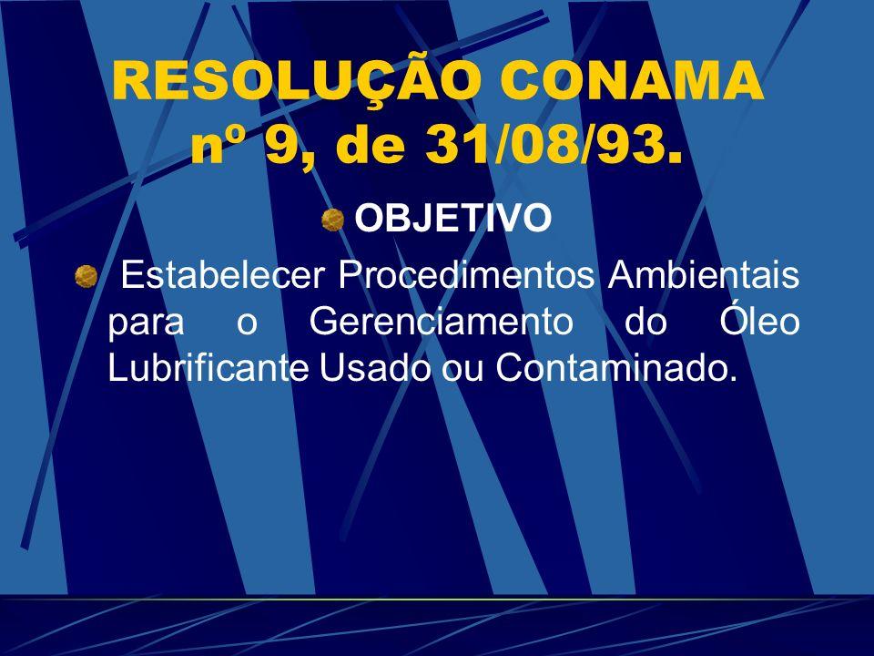 RESOLUÇÃO CONAMA nº 9, de 31/08/93. OBJETIVO Estabelecer Procedimentos Ambientais para o Gerenciamento do Óleo Lubrificante Usado ou Contaminado.