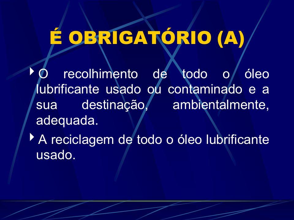 A QUESTÃO DA RECICLAGEM A reciclagem do óleo lubrificante usado ou contaminado regenerável deverá ser efetuada através do rerrefino.