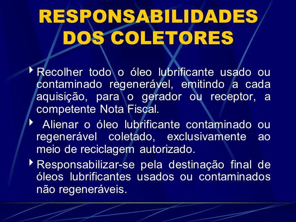 RESPONSABILIDADES DOS RERREFINADORES Receber todo o óleo lubrificante usado ou contaminado regenerável, exclusivamente de coletor autorizado.