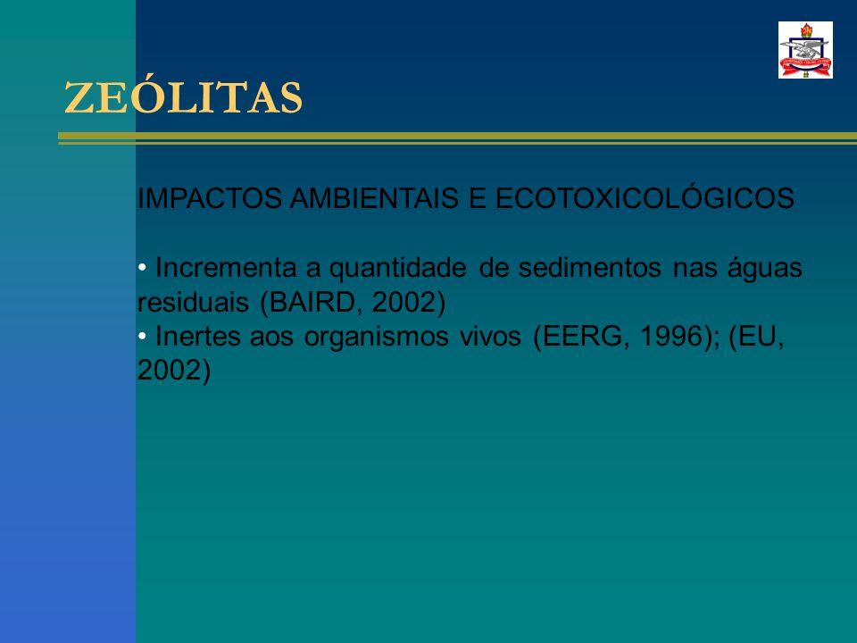 ZEÓLITAS IMPACTOS AMBIENTAIS E ECOTOXICOLÓGICOS Incrementa a quantidade de sedimentos nas águas residuais (BAIRD, 2002) Inertes aos organismos vivos (EERG, 1996); (EU, 2002)
