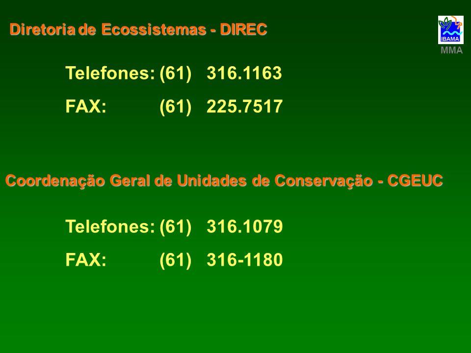 Telefones:(61)316.1163 FAX:(61)225.7517 Diretoria de Ecossistemas - DIREC MMA Telefones:(61)316.1079 FAX:(61)316-1180 Coordenação Geral de Unidades de
