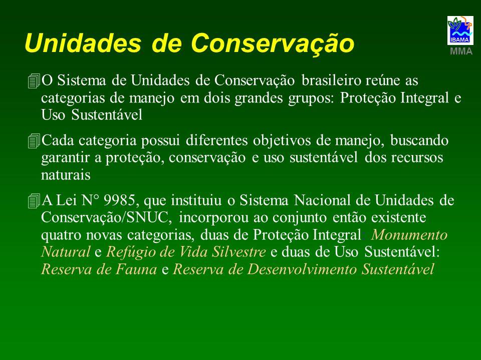 Unidades de Conservação 4O Sistema de Unidades de Conservação brasileiro reúne as categorias de manejo em dois grandes grupos: Proteção Integral e Uso
