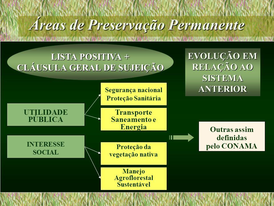 Áreas de Preservação Permanente UTILIDADE PÚBLICA Transporte Saneamento e Energia Segurança nacional Proteção Sanitária Outras assim definidas pelo CO