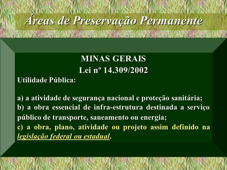 Áreas de Preservação Permanente MINAS GERAIS Lei nº 14.309/2002 Utilidade Pública: a) a atividade de segurança nacional e proteção sanitária; b) a obr